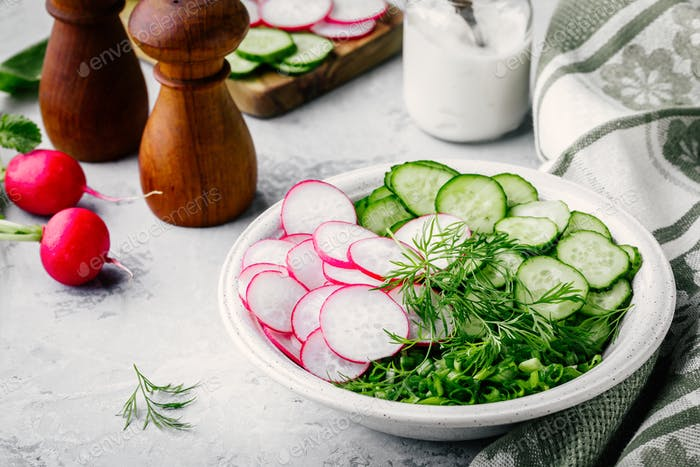 Ingredients for  summer salad. Slices of radish and cucumber, green onions and dill