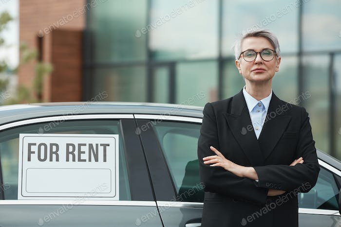Woman suggesting car for rent
