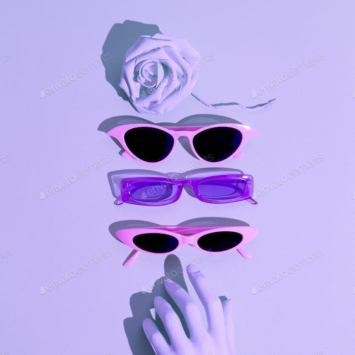 Fashion accessories still life concept. Stylish sunglasses. 90's aesthetic mood.