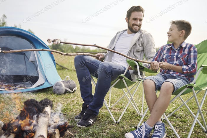 Little snack with my son on the camping