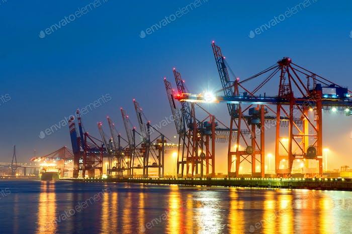 The Hamburg harbour at night