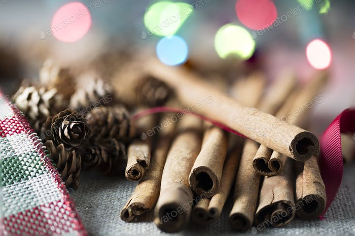 Cinnamon Sticks in Festive  Setting
