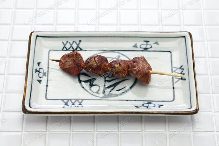 yakitori, chicken gizzard, japanese grilled chicken skewers