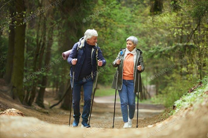 Sportive Senior Couple Enjoying Walk in Forest