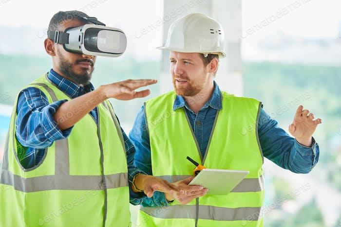 Using VR simulator for building visualization