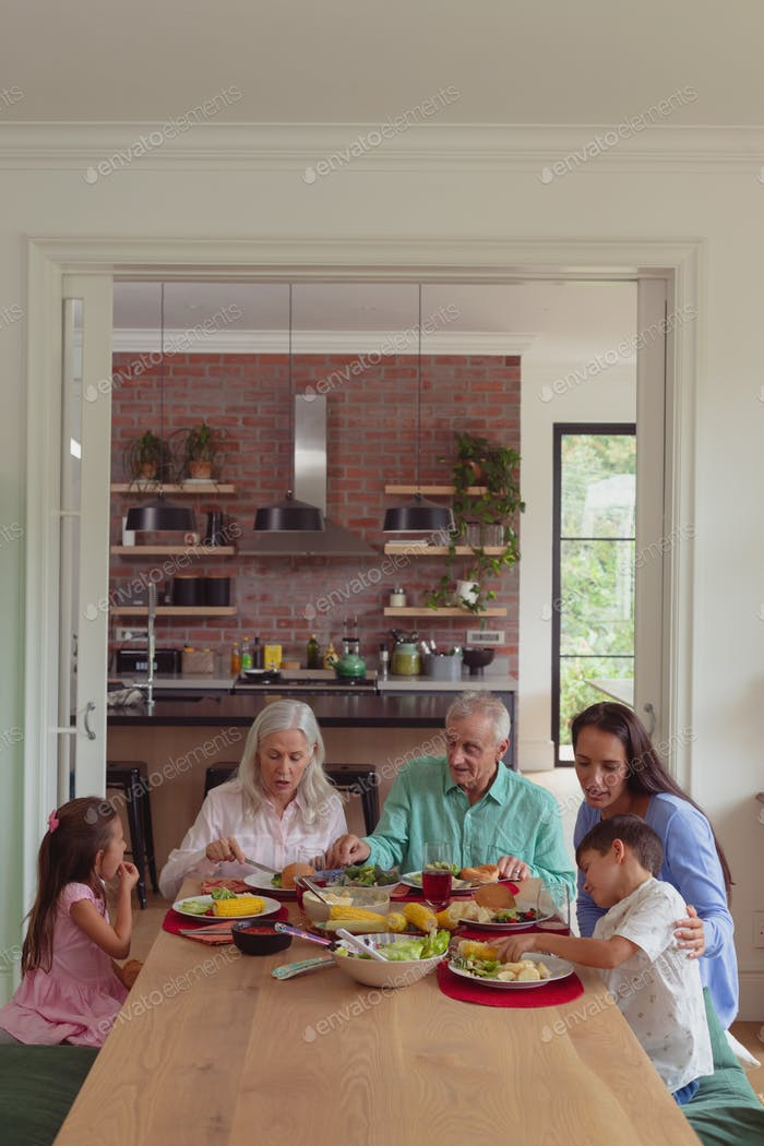 Front view of multi-generation Caucasian family having food together on dining table at home