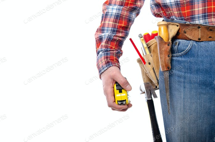 Caucasian contractor hold measure tape in his hand on white background