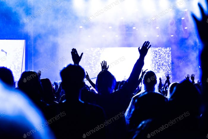 Rear view of crowd with arms outstretched at concert. Summer music festival concept