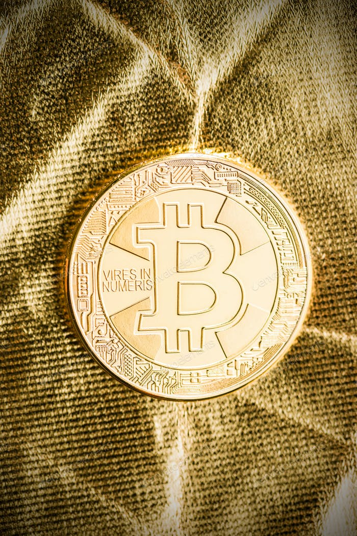 Golden bitcoins. Digital cryptocurrency.