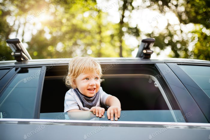 Little boy playing in the car, leaning out of window.