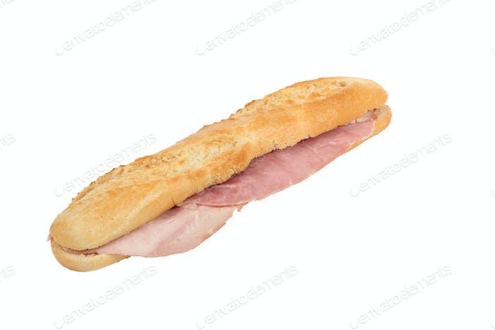 Angled ham baguette