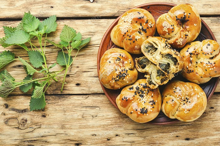 Homemade buns with nettles.