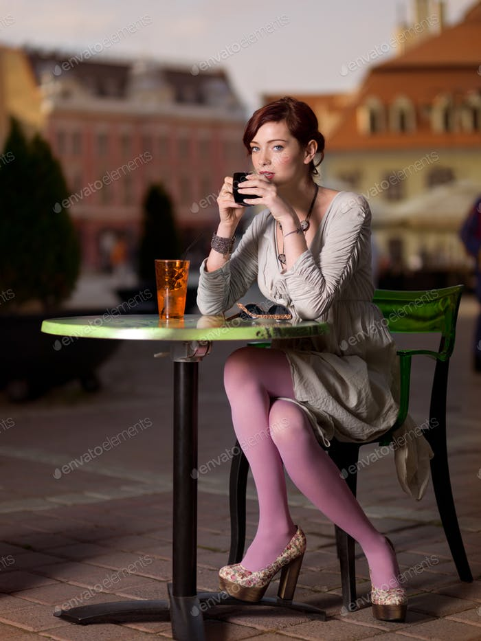 girl in city square