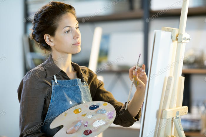 Painting in art studio