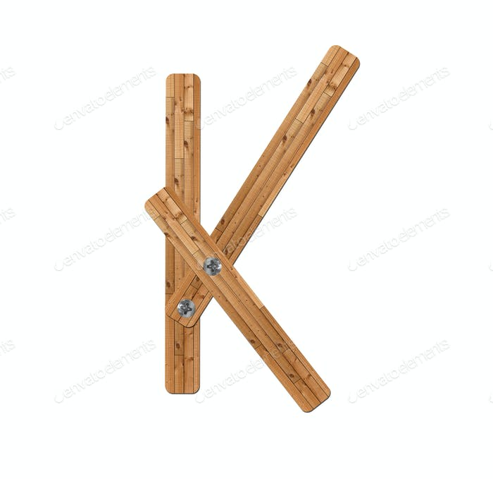 wooden alphabet - letter K on white background