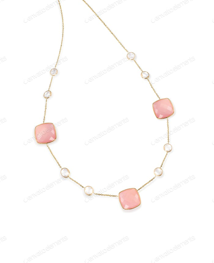 Pink Gemstone diamond necklace with chain