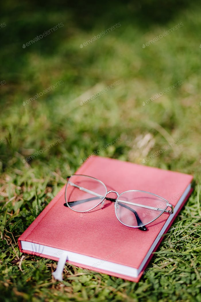 glasses and notebook lay on grass