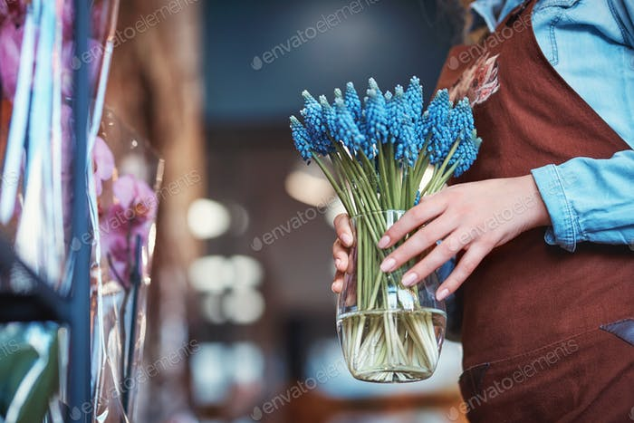 Young woman with muscari