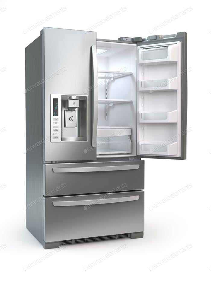 Offener Kühlschrank mit Gefrierfach. Side by Side Kühlschrank aus Edelstahl