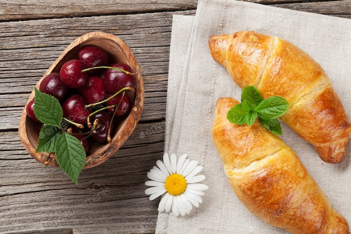 Croissants, cherry and chamomile