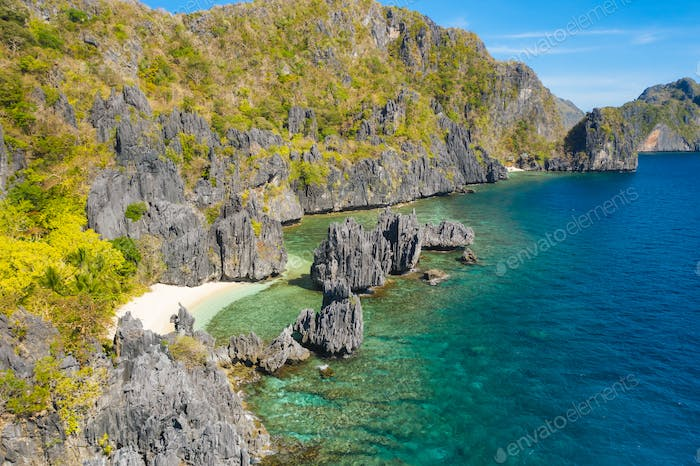 El Nido, Palawan Island. Hidden lagoon and lime stone rocks. Rocky formations on famous tropical