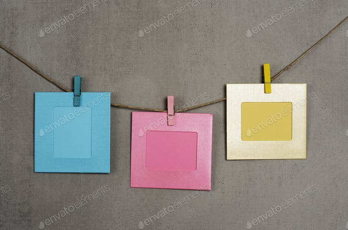multi colored photo frames