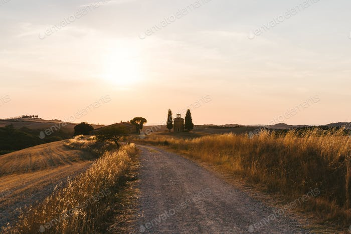 scenic view of beautiful Tuscany fields and empty road at sunset, Italy