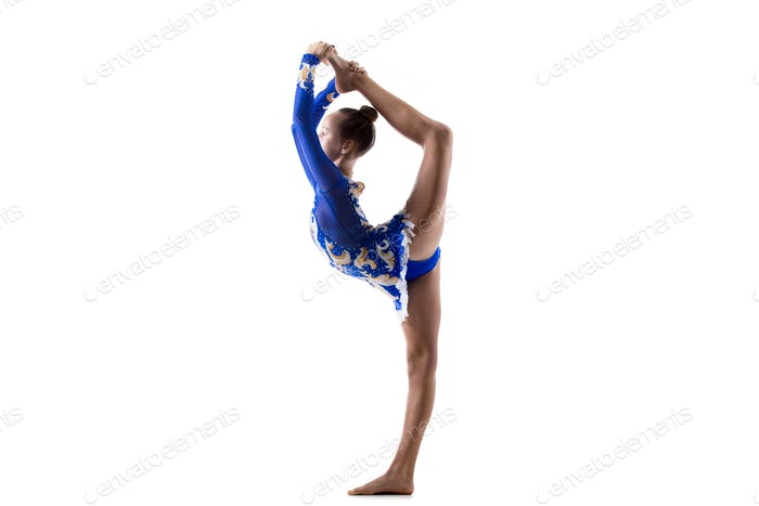 Dancer girl doing standing splits
