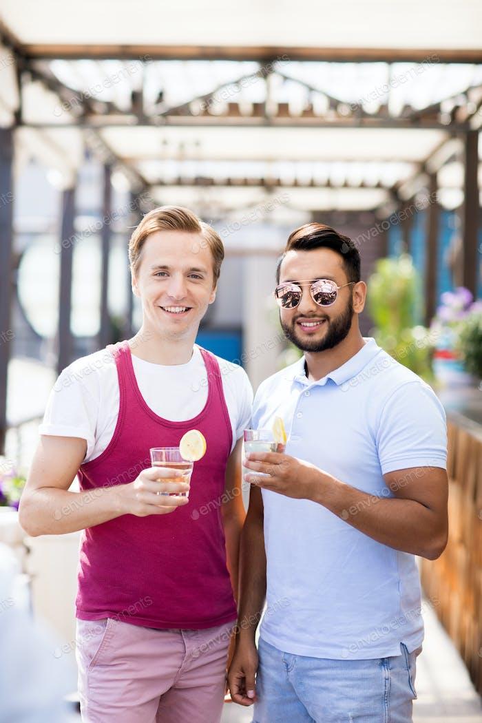 Two Friends Posing in Bar