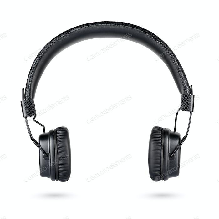 Kabelloser schwarzer On-Ear-Kopfhörer isoliert auf Weiß