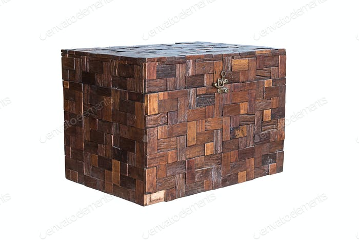 Wooden chest isolated.