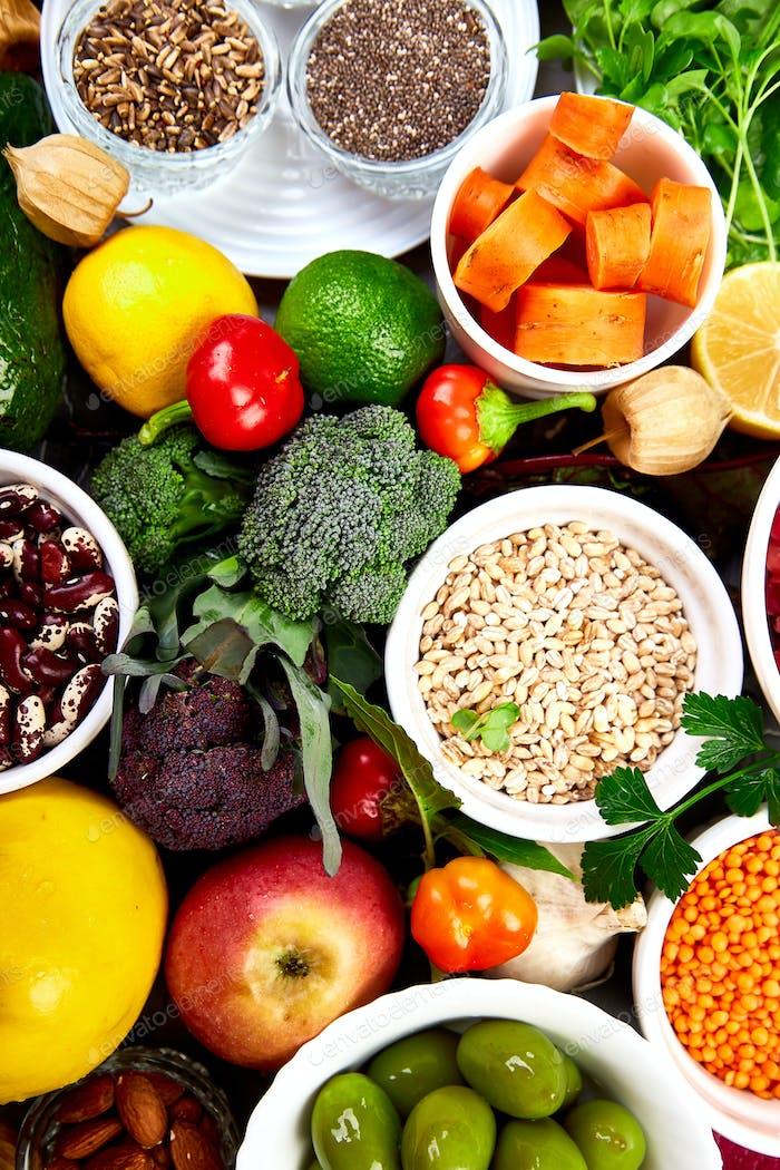 Healthy vegan food. Assortment of organic foods.