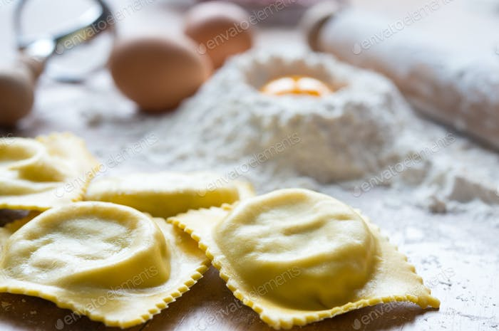 Fresh handmade ravioli