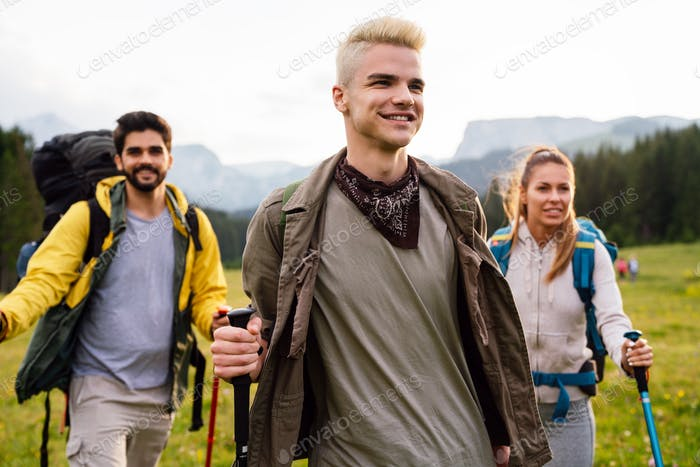 Group of fit healthy friends trekking in the mountains
