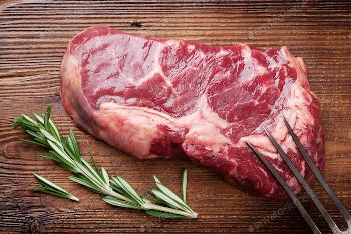 Thumbnail for Raw ribeye beef steak cooking
