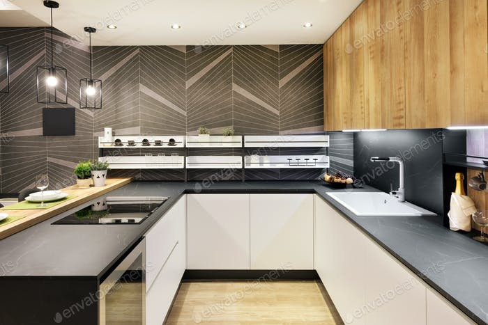 Long narrow fitted kitchen interior