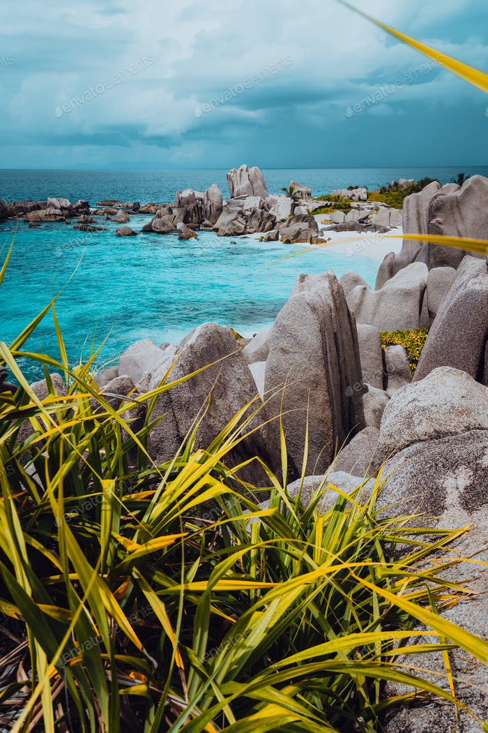 Impressive granite rocky beach Anse Marron in Seychelles. La Digue