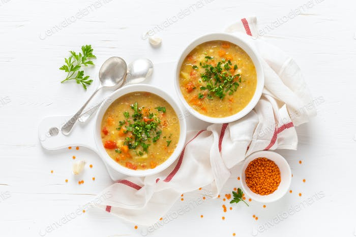 Vegetarian vegetable lentil soup with fresh parsley, healthy eating, top view