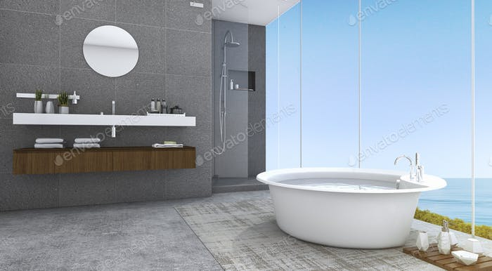 3d rendering contemporary and loft style bathroom with nice sea view
