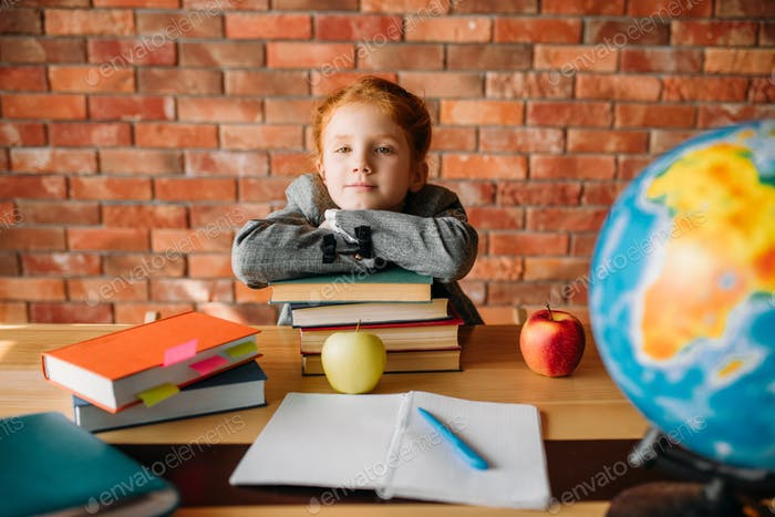 Serious schoolgirl with textbooks poses at table