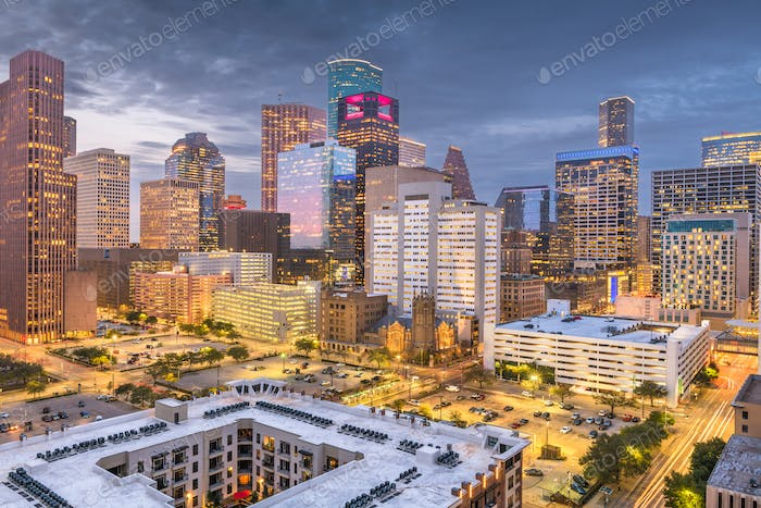 Houston, Texas, USA downtown park and skyline at twilight.