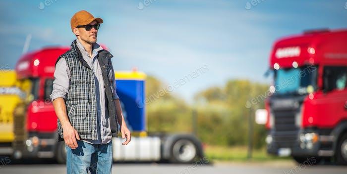 Semi Driver on Truck Stop