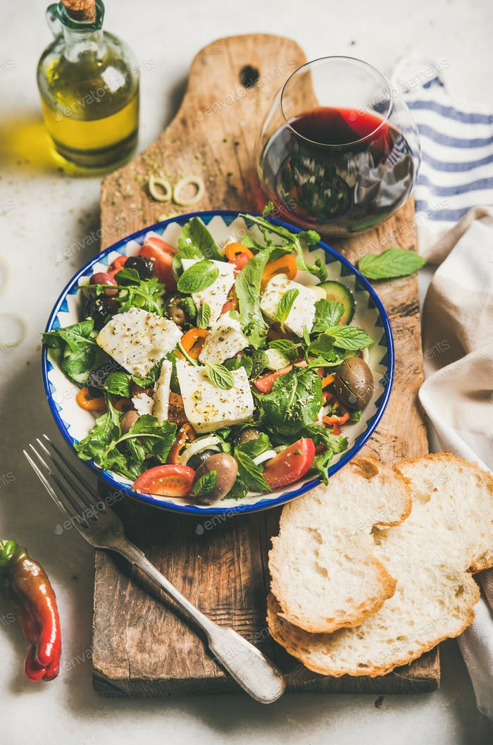 Traditional homemade Greek salad with feta cheese and olives