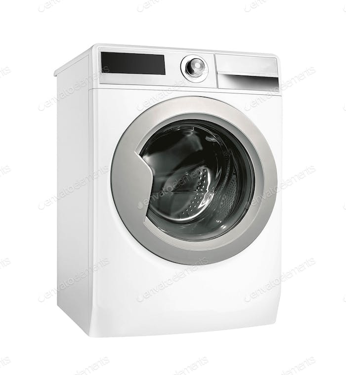 Modern silver washing machine isolated on white background