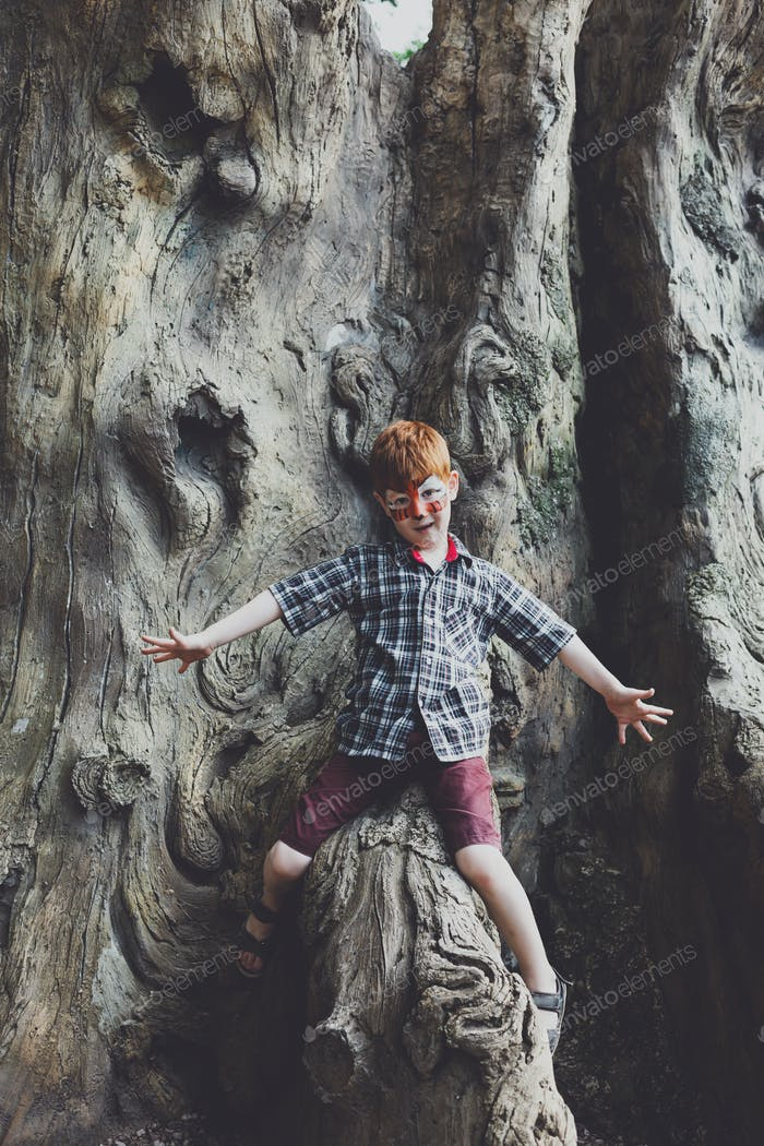 Boy child outdoors climb tree with tiger face painting