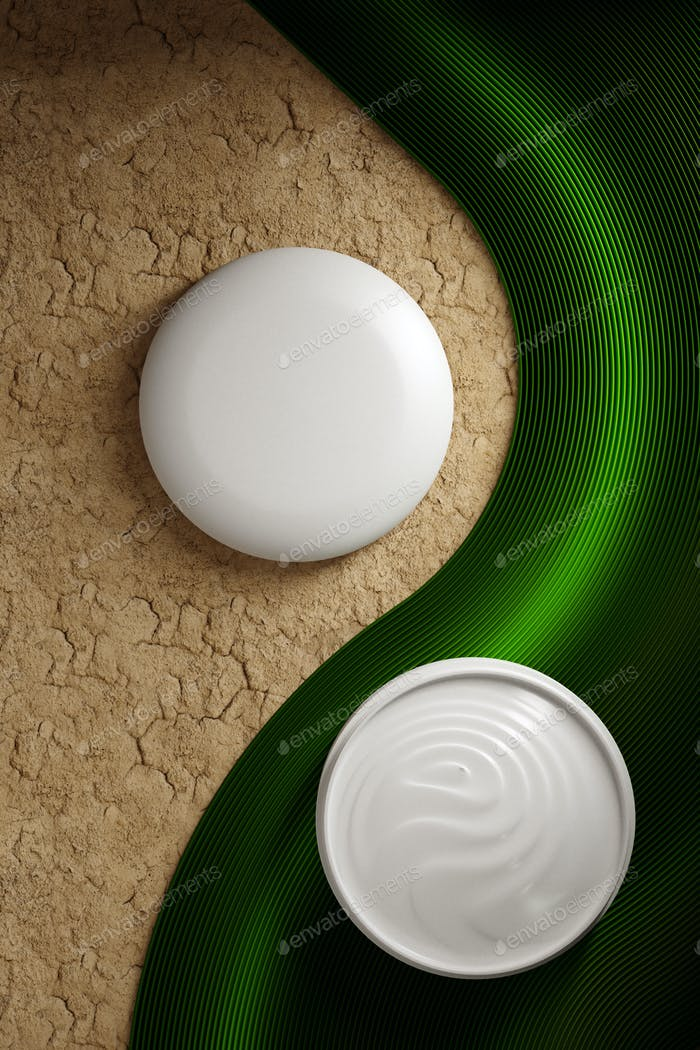 Cosmetic cream bottle container Moisturizer on sand dry ground, Blank label for branding mock-up