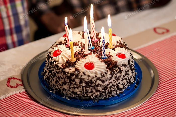 Birthday Cake On The Table Photo By Stockfilmstudio On Envato Elements