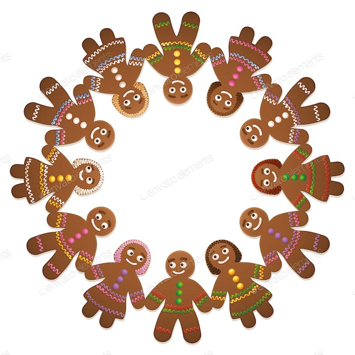 Gingerbread Man Woman Circle Of Friends