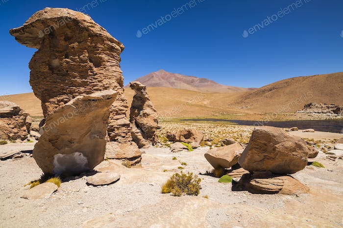 Rock formations in desert of Altiplano, Bolivia