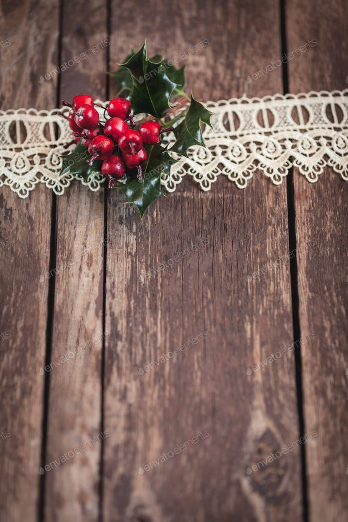Rustic wood with Christmas decoration